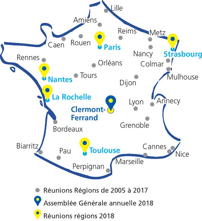 Carte de France où se trouvent toutes les réunion régions et l'assemblée générale annuelle 2018