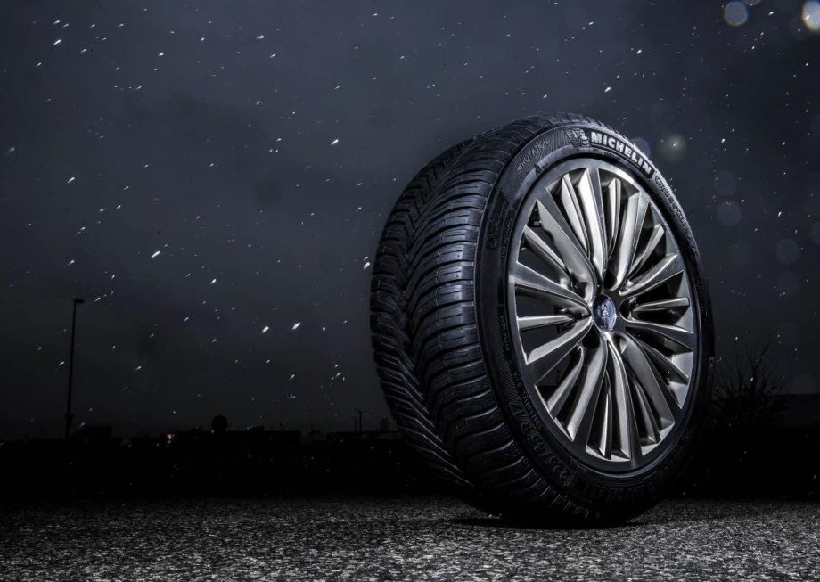 Tire on wet road