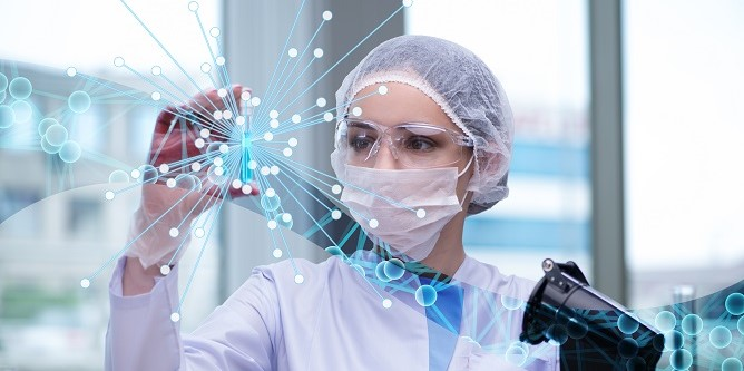 Young woman scientist in medical science concept